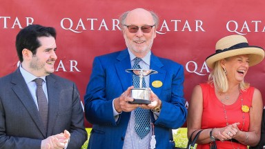 Chris Wright with the Lillie Langtry Trophy which was mistakenly taken by another owner