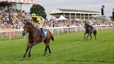 SILKEN PETALS and HAYLEY TURNER at York 23/7/21Photograph by Grossick Racing Photography 0771 046 1723