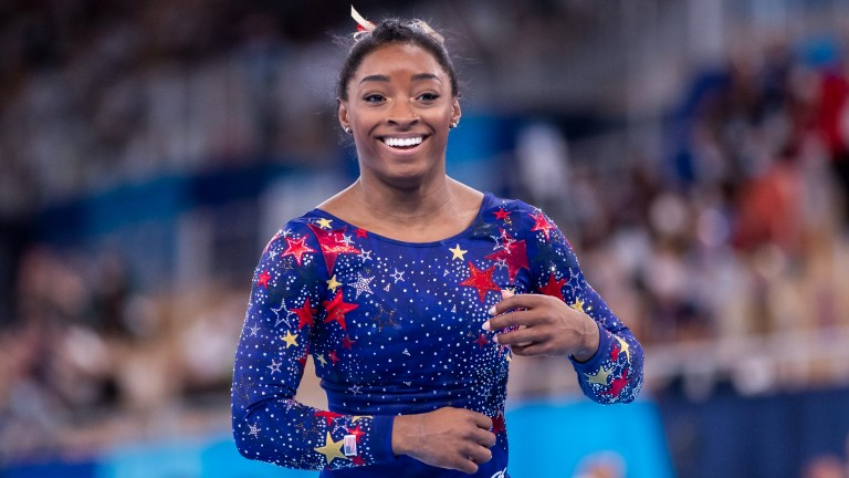 American gymnast Simone Biles is chasing a seventh Olympic medal in the beam