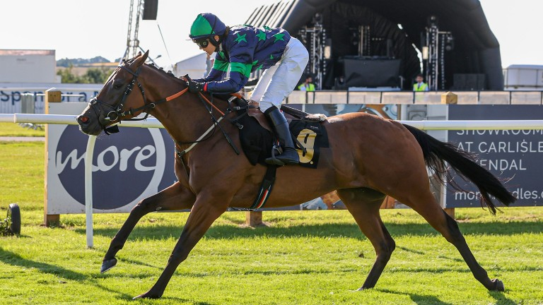 Fern O'Brien is a winner on her first ride under rules on Lord P at Carlisle