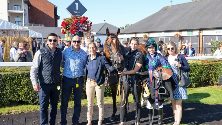 The O'Briens in the winner's enclosure after a first winner for Fern