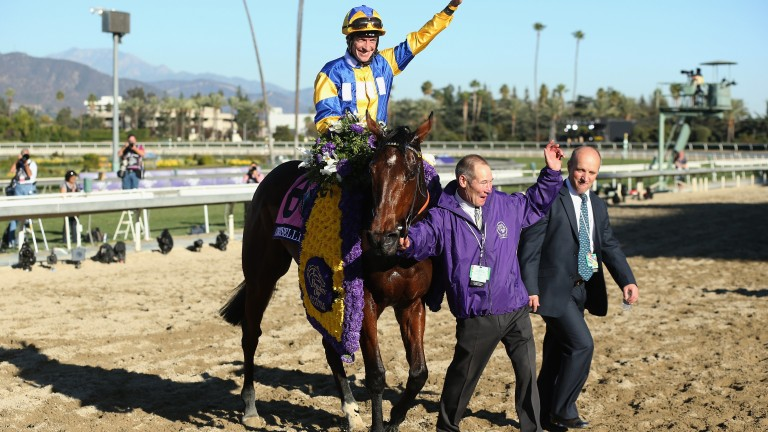 Snook (right) walking in with Chriselliam after her Breeders' Cup success