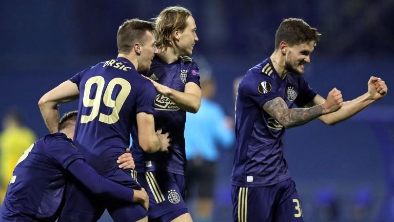Dinamo Zagreb celebrate their 3-0 Europa League success over Tottenham last season