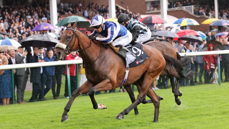 Fox Tales sticks on gamely to win the Group 3 Rose of Lancaster