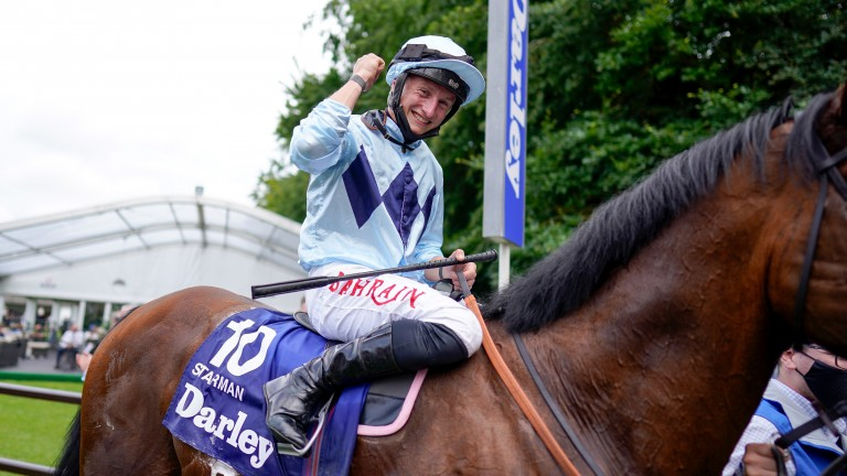 Tom Marquand riding Starman celebrates after winning the July Cup at Newmarket