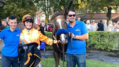 Sibylle Vogt: German Classic-winning rider celebrates after winning the final race at Baden-Baden on Saturday