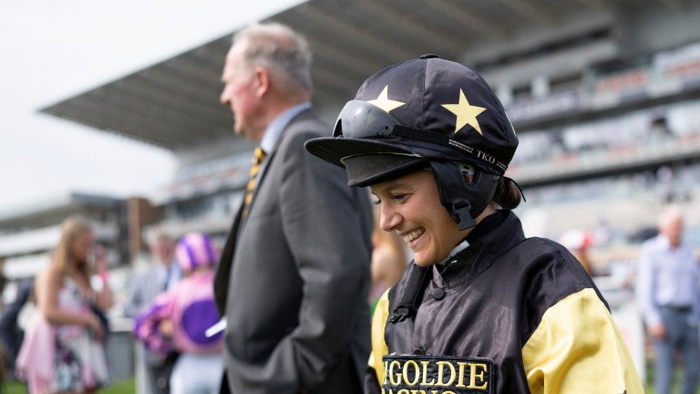 A smiling Amie Waugh after winning on the Jim Goldie-trained Call Me Ginger