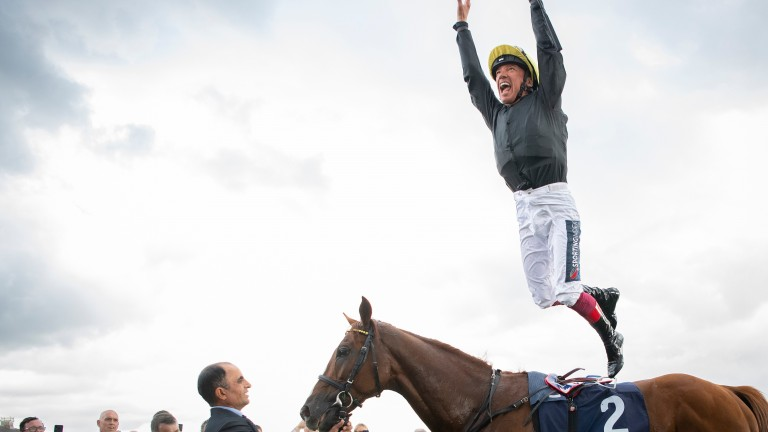 Frankie Dettori celebrates after the Doncaster Cup