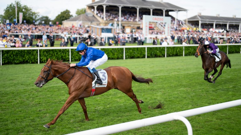 Hurricane Lane powers clear of the Derby runner-up Mojo Star to land the Cazoo St Leger