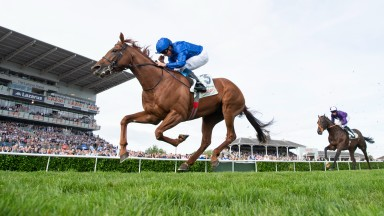 Hurricane Lane and William Buick win the St LegerDoncaster 11.9.21 Pic: Edward Whitaker