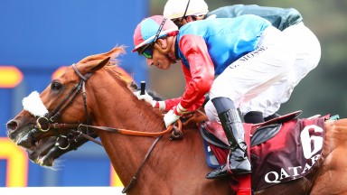 Bubble Gift and Gerald Mosse run down Baby Rider to land the Qatar Prix Niel at Longchamp