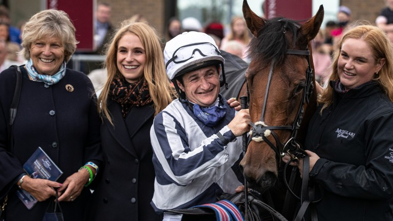 Jessica Harrington with Discoveries and Shane Foley after the Moyglare