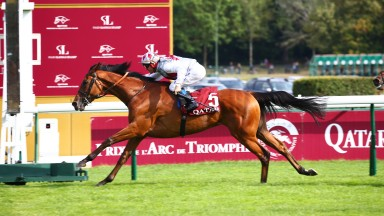Teona and Olivier Peslier streak clear in the Qatar Prix Vermeille at Longchamp