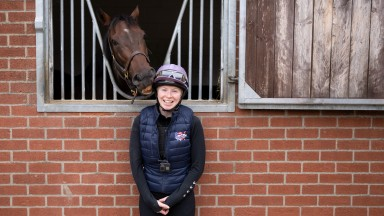 Rosie Margarson and Caribbean Spring (Bean) at George Lodge StablesNewmarket 13.9.21 Pic: Edward Whitaker