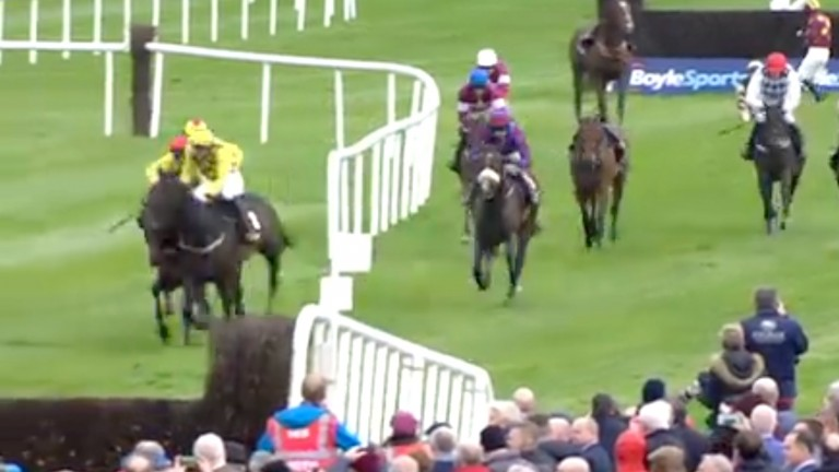 Townend heads right on the leader, believing he heard the final fence was to be bypassed