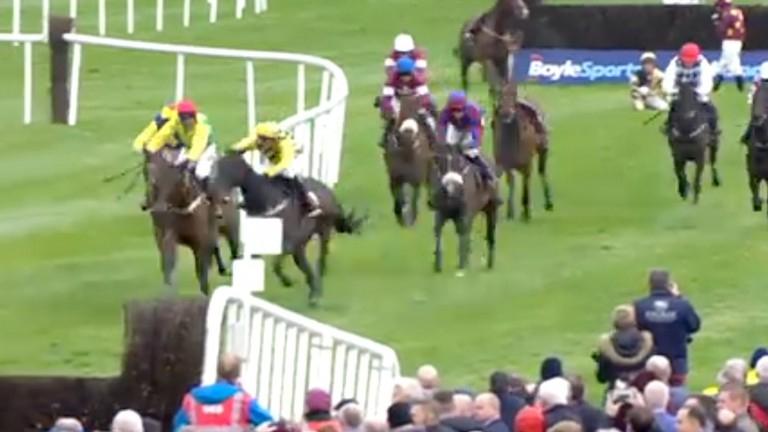 Paul Townend veers right on Al Boum Photo in a staggering manoeuvre at Punchestown