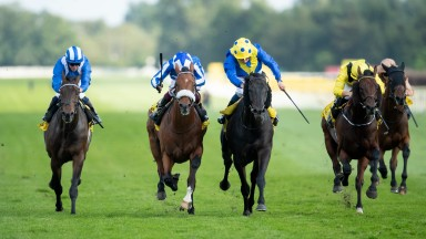 William Buick and Solid Stone (3rd from right) beats championship rival Oisin Murphy and Foxes Tales (2nd from left) in the 1m 3f Group 3 StakesNewbury 18.9.21 Pic: Edward Whitaker