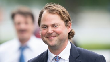 Trainer Charlie Fellowes is all smiles after recording his first Group winner in the UK when Eve Lodge won the Sirenia Stakes Kempton 4.9.21 Pic: Edward Whitaker