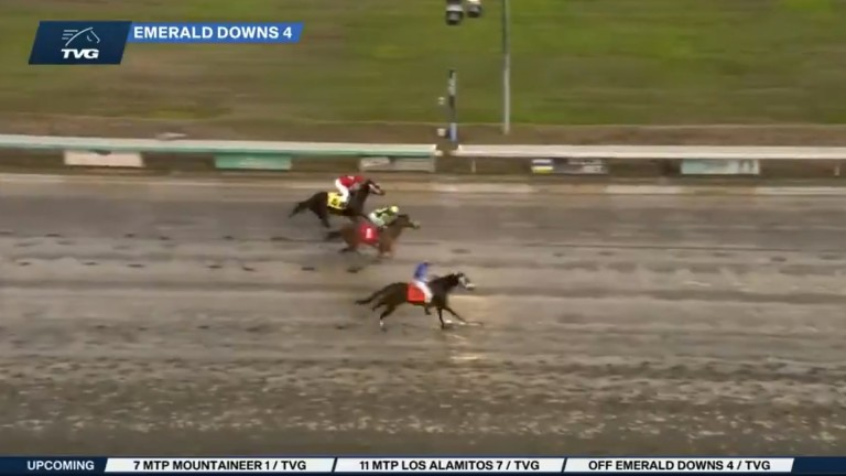Alex Cruz, riding without the use of his irons, posted an amazing victory at Emerald Downs