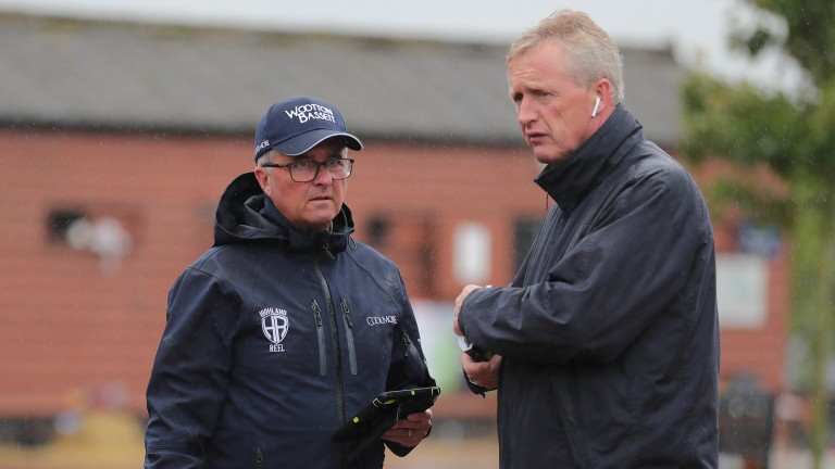 Coolmore's Kevin Buckley and Eddie Fitzpatrick deep in discussion