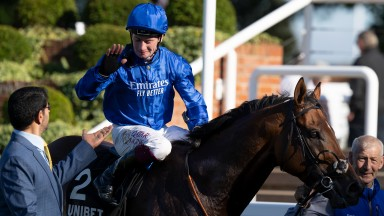Saeed bin Suroor and Oisin Murphy after Benbatl's win in the Joel StakesNewmarket 24.9.21 Pic: Edward Whitaker