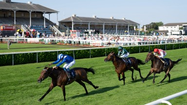 Anmaat (William Buick) wins the 1m 2f handicapDoncaster 8.9.21 Pic: Edward Whitaker