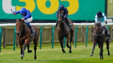 NEWMARKET, ENGLAND - SEPTEMBER 25: Jason Hart riding Royal Patronage (R, light blue) win The Juddmonte Royal Lodge Stakes at Newmarket Racecourse on September 25, 2021 in Newmarket, England. (Photo by Alan Crowhurst/Getty Images)