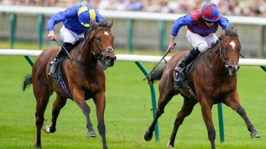 NEWMARKET, ENGLAND - SEPTEMBER 25: Ryan Moore riding Tenebrism (R) win The Juddmonte Cheveley Park Stakes at Newmarket Racecourse on September 25, 2021 in Newmarket, England. (Photo by Alan Crowhurst/Getty Images)