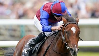 NEWMARKET, ENGLAND - SEPTEMBER 25: Ryan Moore riding Tenebrism win The Juddmonte Cheveley Park Stakes at Newmarket Racecourse on September 25, 2021 in Newmarket, England. (Photo by Alan Crowhurst/Getty Images)