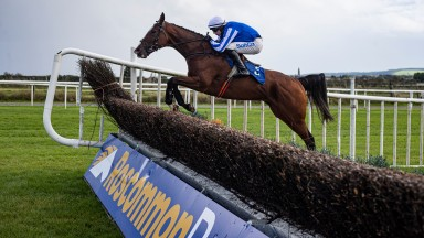Exit Poll and Sean O'Keeffe en route to winning the Kilbegnet Novice Chase at Roscommon