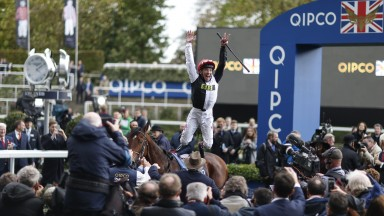 ASCOT, ENGLAND - OCTOBER 21:  Frankie Dettori celebrates after riding Cracksman to win The QIPCO Champion Stakes at Ascot racecourse on QIPCO British Champions Day on October 21, 2017 in Ascot, United Kingdom. (Photo by Alan Crowhurst/Getty Images)