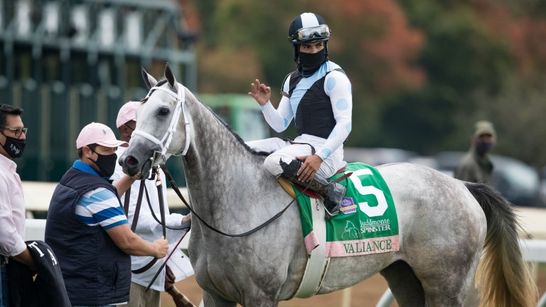 Valiance and Luis Saez won the Spinster Stakes at Keeneland in October 2020