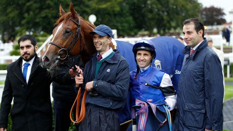 Ahmed Bintooq (left) with Tatsumaki, Neil Callan and Marco Botti (second right and right) after their valuable victory at Newmarket