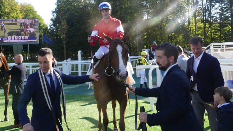 Malavath and Olivier Peslier return after winning the Group 2 Criterium de Maisons-Laffitte at Chantilly