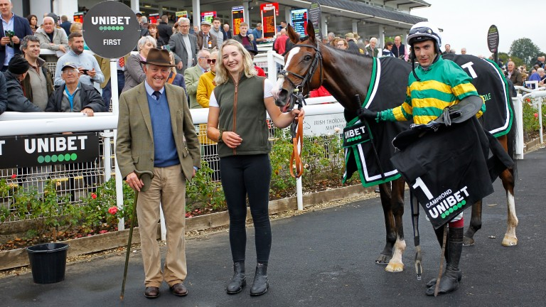 Philip Hobbs (left) is on hand to greet Persian War winner Camprond at Chepstow last Friday, a race in which he also saddled the runner-up Luttrell Lad