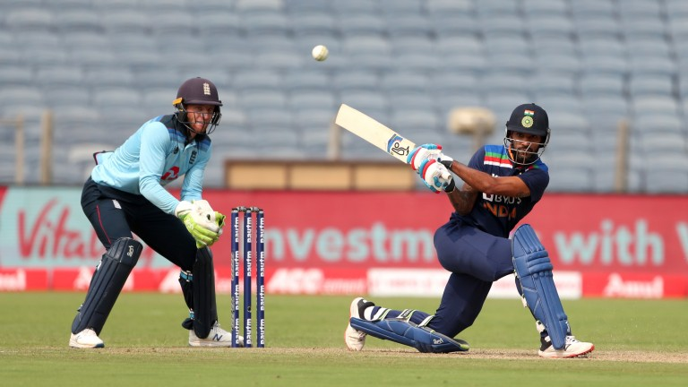 Shikhar Dhawan in action for India against England