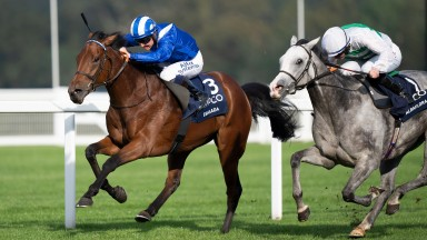 Eshaada leads home Albaflora in a one-two for Nunnery Stud resident Muhaarar in the Qipco British Champions Fillies & Mares Stakes