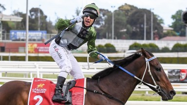 Incentivise and Brett Prebble cross the line to land the Caulfield Cup in October 2021