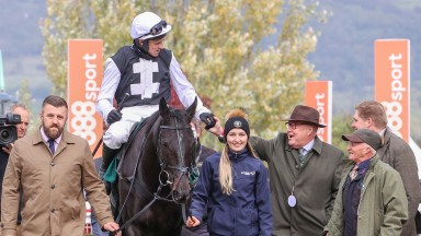 Mike Newbould greets Harry Skelton and Third Time Lucki after impressive win