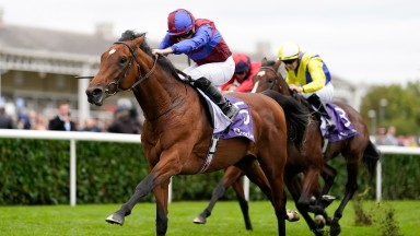 DONCASTER, ENGLAND - OCTOBER 23: Ryan Moore riding Luxembourg win The Vertem Futurity Trophy Stakes at Doncaster Racecourse on October 23, 2021 in Doncaster, England. (Photo by Alan Crowhurst/Getty Images)