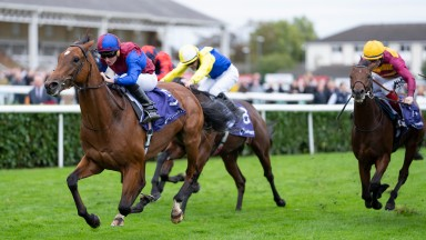 Luxembourg (Ryan Moore) win the Group 1 Vertem Futurity TrophyDoncaster 23.10.21 Pic: Edward Whitaker
