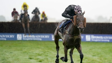 WINCANTON, ENGLAND - OCTOBER 24: Ben Jones riding Irish Prophecy clear the last to win The Fitzdares Racing Welfare Handicap Chase at Wincanton Racecourse on October 24, 2021 in Wincanton, England. (Photo by Alan Crowhurst/Getty Images)