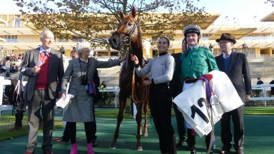 Staying star: Scope with owner/breeder Julian Richmond-Watson (left) and jockey Rob Hornby after landing the Group 1 Prix Royal-Oak