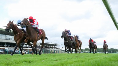 GREENSIDE and Marco Ghiani (red) win at Haydock Park 5/7/20Photograph by Grossick Racing Photography 0771 046 1723