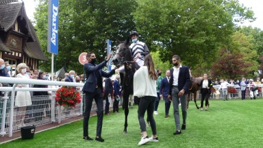 Mangoustine after winning her maiden at Deauville in the colours of former NBA star Tony Parker's Infinity Nine Horses