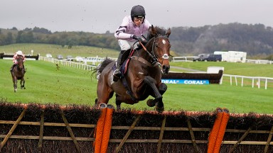 CHEPSTOW, WALES - OCTOBER 26: Harry Cobden riding Stage Star clear the last to win The Pickwick Bookmakers Maiden Hurdle (GBB Race) (Div 2) at Chepstow Racecourse on October 26, 2021 in Chepstow, Wales. (Photo by Alan Crowhurst/Getty Images)